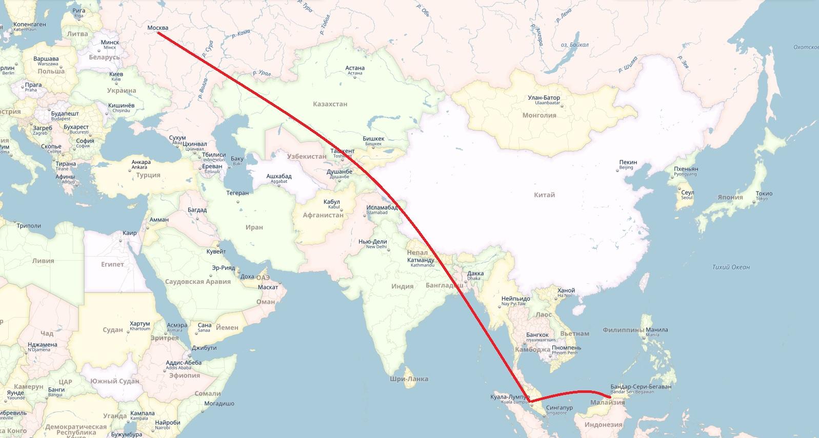 маршрут россия малайзия