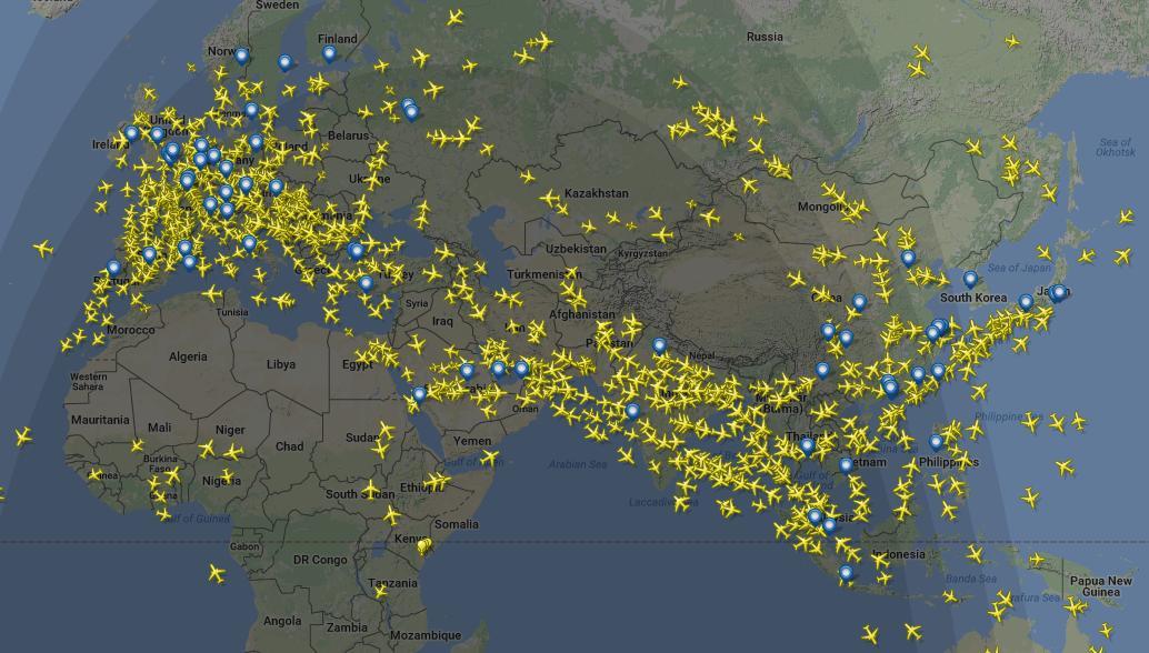 много самолетов