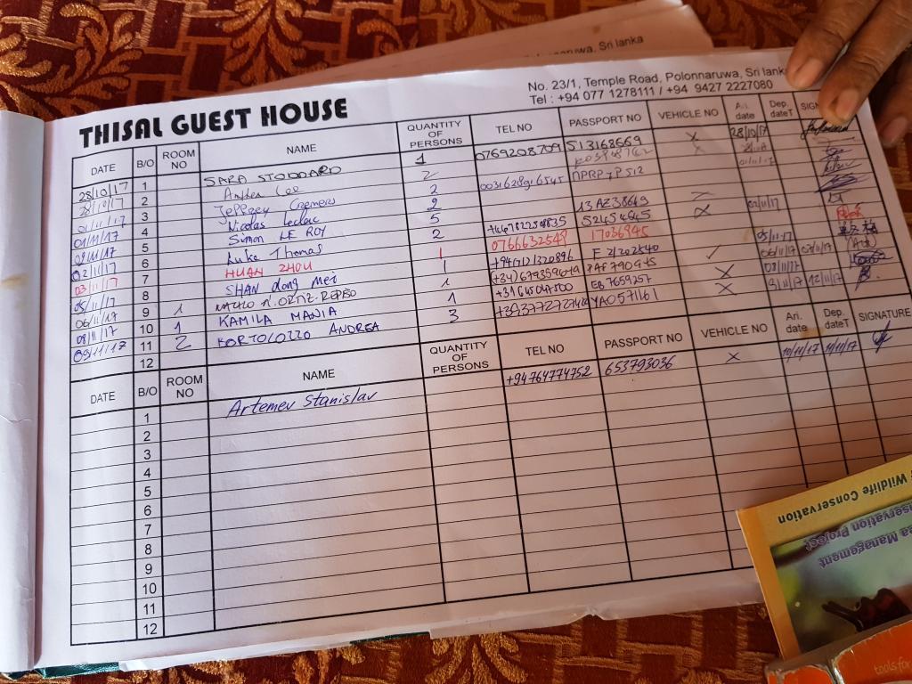 Книга постояльцев отеля