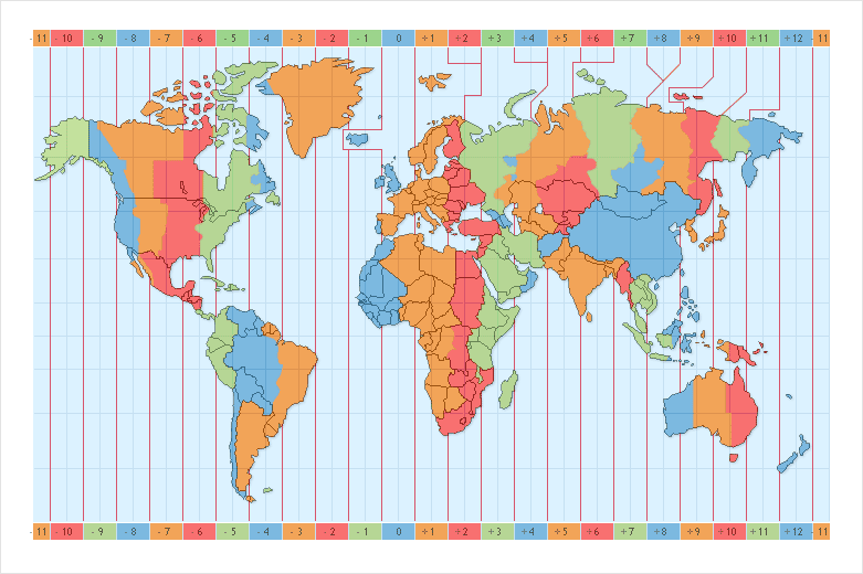 карта часовых поясов