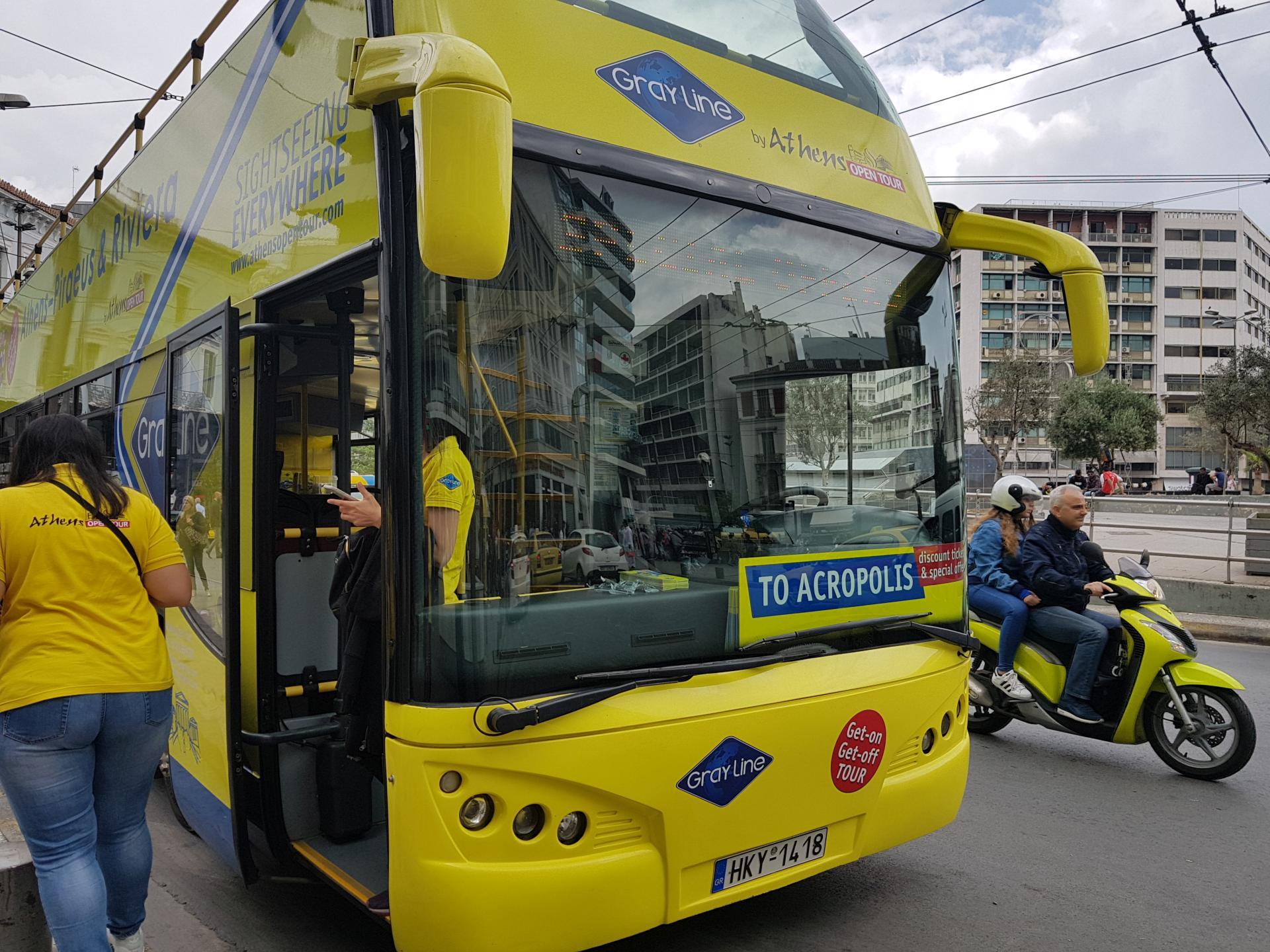 Туристический автобус в Афинах