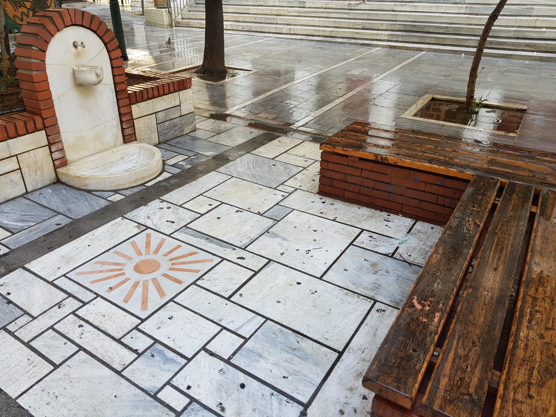 место для отдыха на улице в Афинах