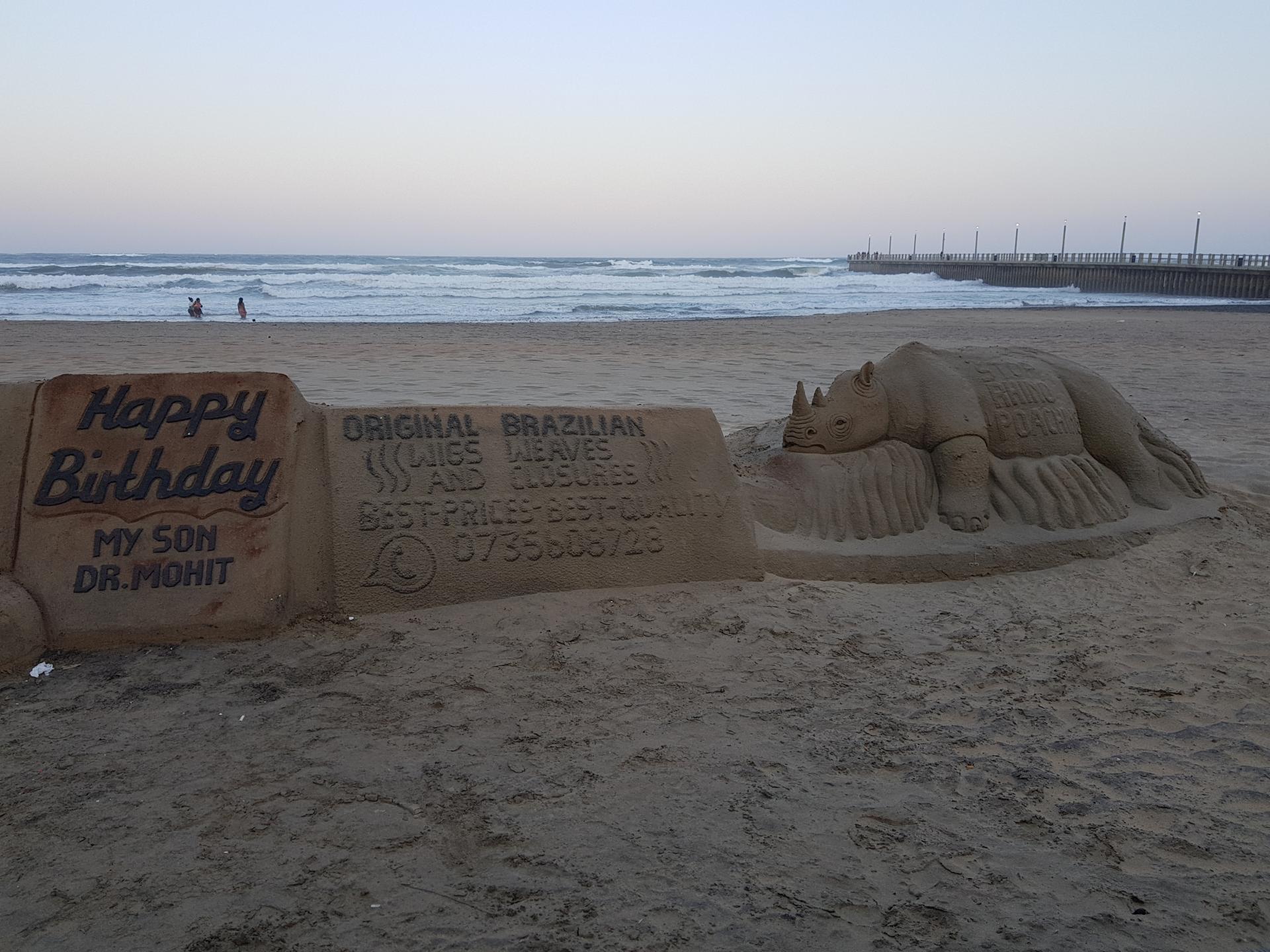 скульптуры из песка на пляже Дурбана, ЮАР