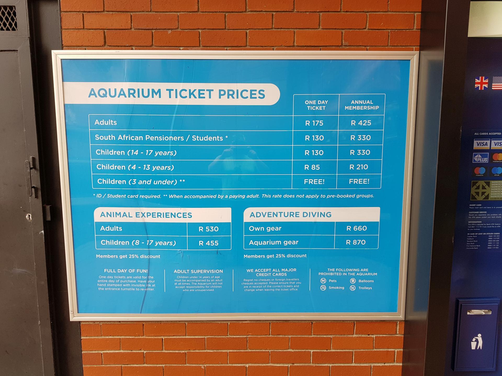 аквариум 2 океана прайс-лист