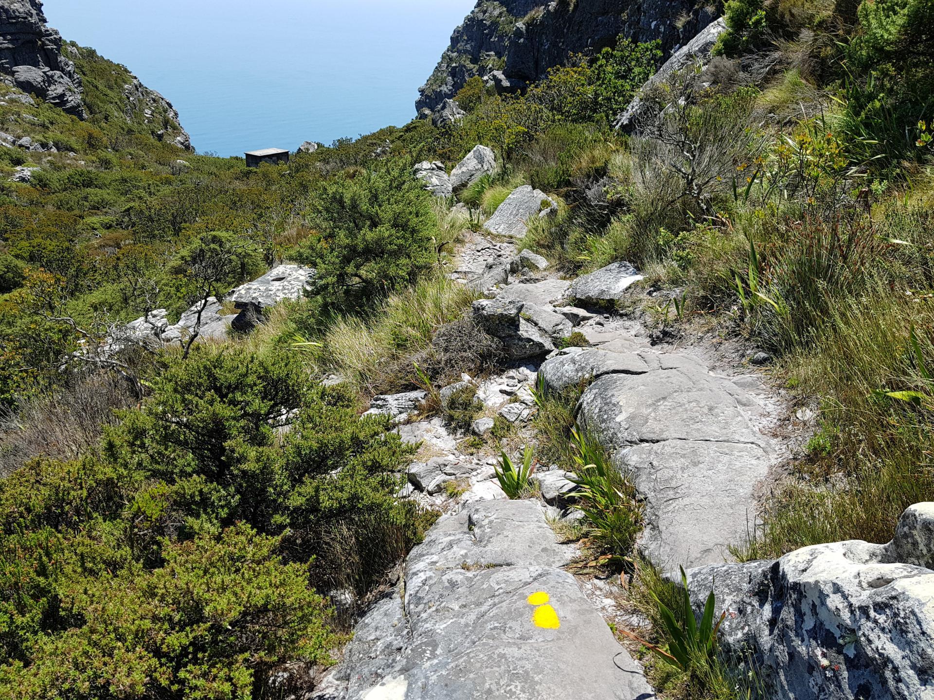 Начало спуска по Индийской тропе со Столовой горы