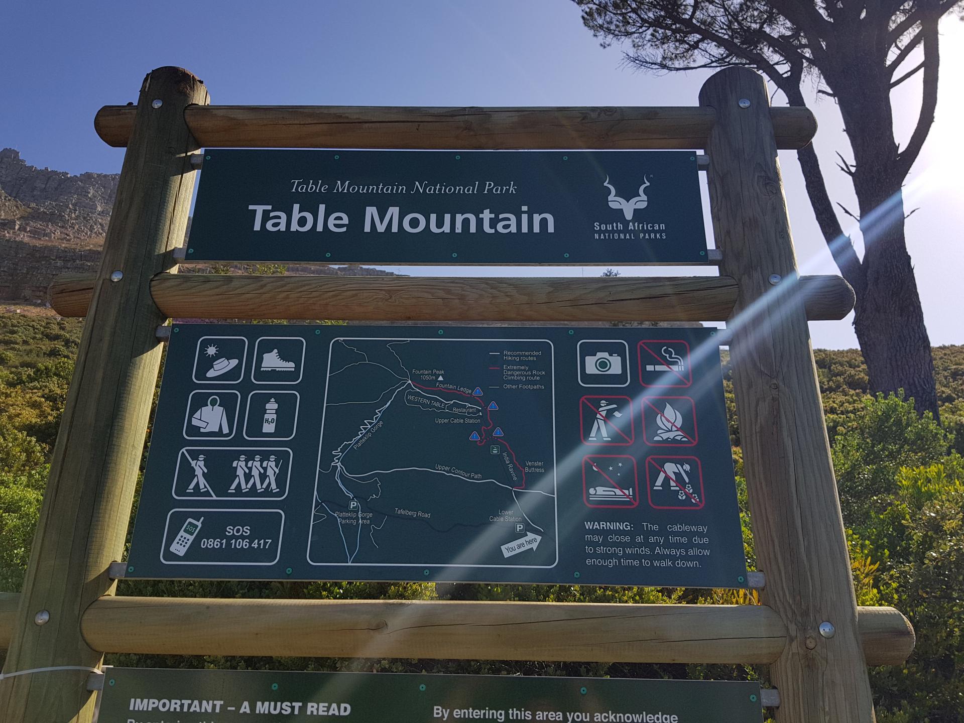 указатель путей подъема на Столовую гору, Кейптаун