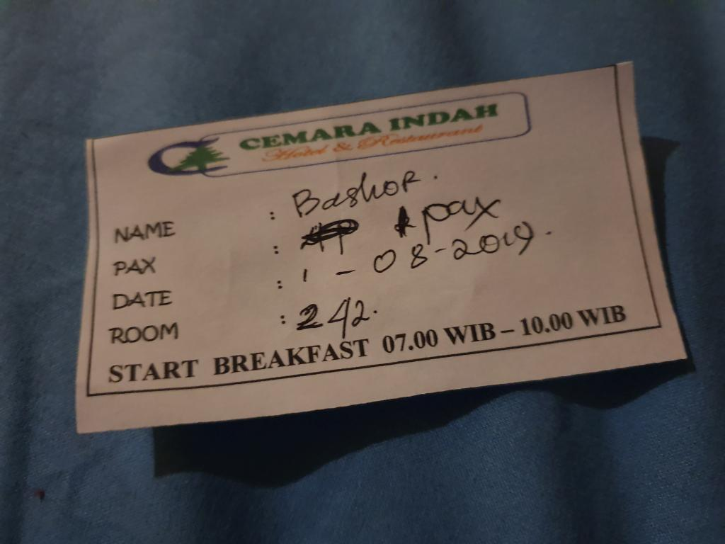 талон на завтрак в отеле