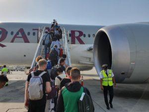 посадка в самолет Qatar Airways