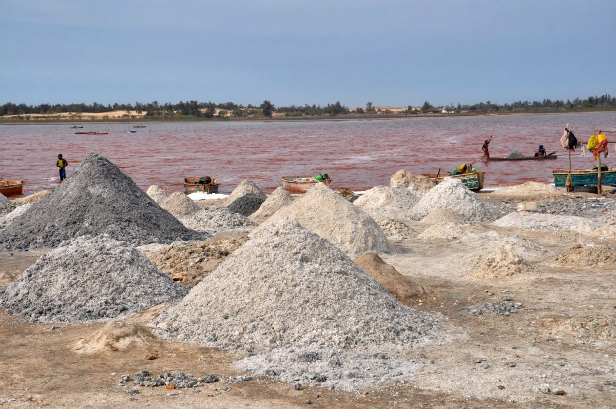 Добыча соли на озере Ретба в Сенегале