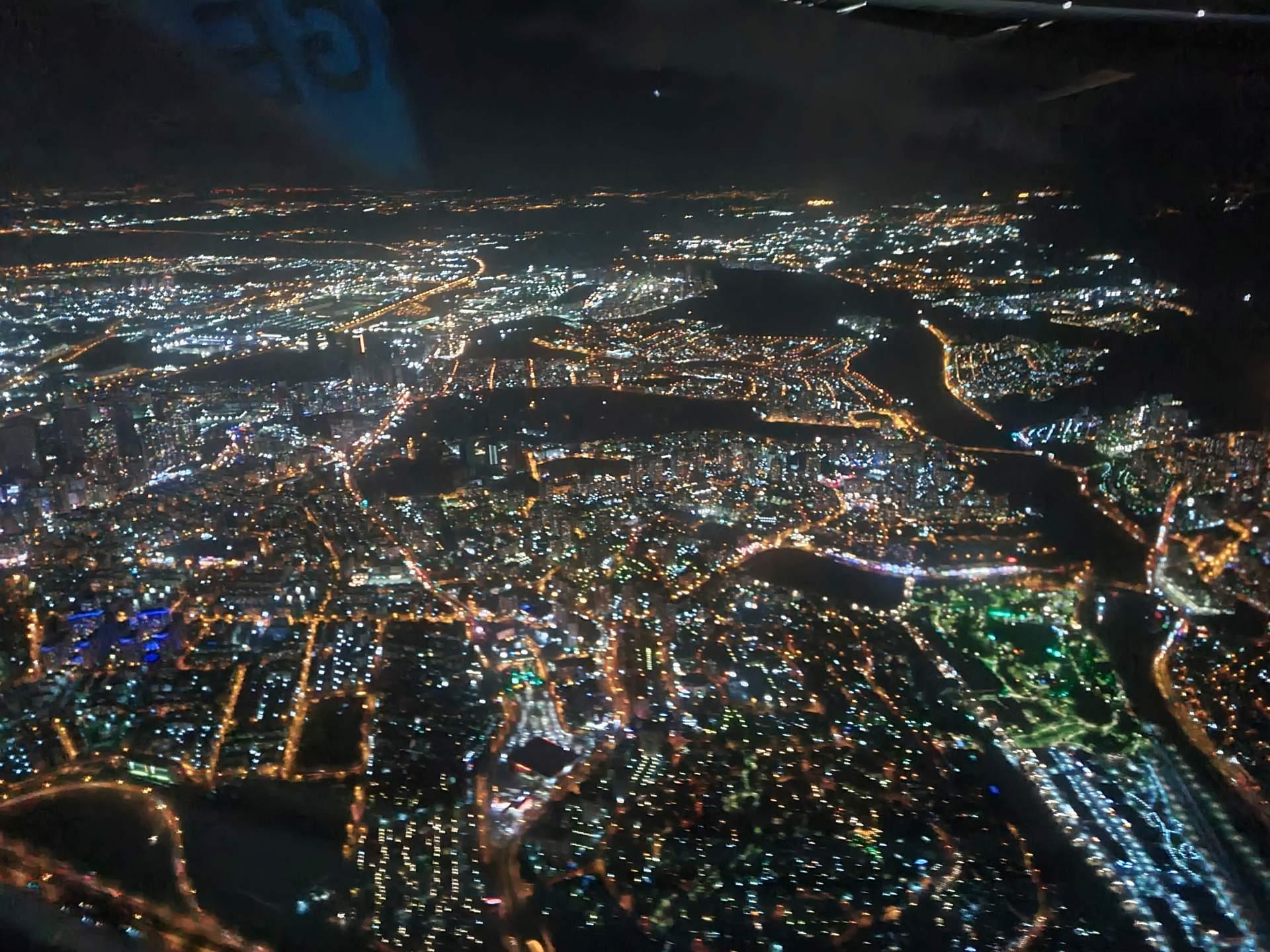ночной Сан-Паулу с самолета