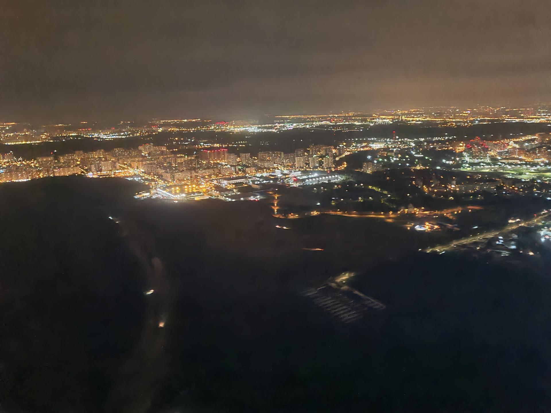 Ночная Москва с самолета